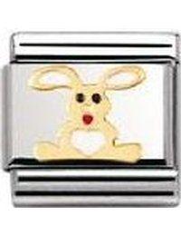 Détails sur le produit Nomination Charms, Hoppy Easter, Easter Treats, Rabbit, Charm Bracelets, Stainless Steel, Link, Gold, Net Shopping
