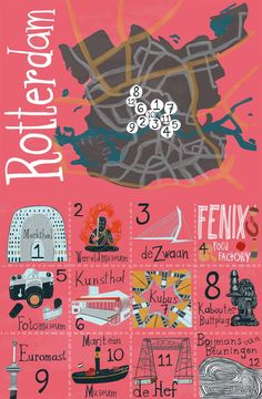 Fun things to do in Rotterdam! Illustrated map by shoshannah hausmann Amsterdam City, Amsterdam Travel, Rotterdam Map, Rotterdam Architecture, Rotterdam Netherlands, Netherlands Windmills, City Maps, Utrecht, Cultural Architecture