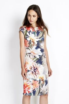Floral Ruched Wrap Dress