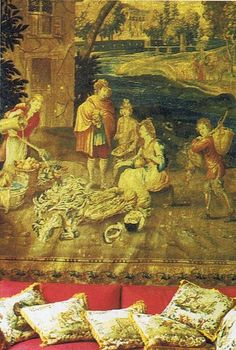 A historic home in Switzerland published House and Garden December Image via Trouvais. Beauvais tapestry over the red couch. Old World Style, Beautiful Interiors, French Interiors, Old Magazines, Antique Decor, Paris, Chinoiserie, French Antiques, 18th Century