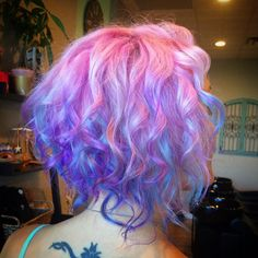 Pulp Riot Neon Pink Orange Yellow Coloured Hair Curly Pastel Bright Haircut Curls Amp Colour