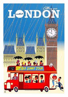 London, England Tourism Poster, Poster Ads, Poster Prints, Vintage Travel Posters, Vintage Postcards, Vintage Ads, Pictures Images, Vintage Pictures, Travel English