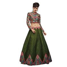 Buy Designer Oliva Green Banglori Silk With Embroidery & Print Work Semi-Stitched Lehenga Choli Online at cheap prices from Shopkio.com: India`s best online shoping site