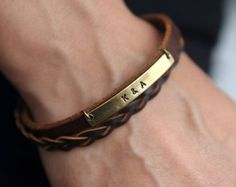 Personalized  Brown Leather Bracelet,Custom  Bracelet, Personalized Bridesmaid Gift, Monogram, Customized,  Gift for him