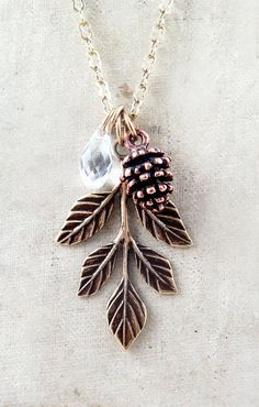 Pinecone-necklace-leaf-necklace-winter