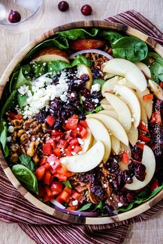 Apple Cranberry Bacon Candied Walnut Salad with Apple Poppy Seed Vinaigrette - Powered by @ultimaterecipe