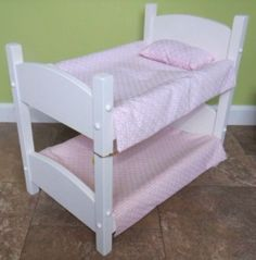 """DOLL BUNK BED Stackable Baby Beds Amish Handmade Furniture for 18"""" Dolls Made in USA"""