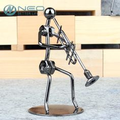 Metal Musician Key Press Trombone Player Sculpture  #bands #musicians #recording #performing #producer