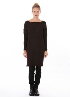 Tunika / Kleid von The Swiss Label bei nobananas mode #nobananas #cherry #red #tunic #soft #velour #fine #strech #side #pockets #long nobananas.de/shop