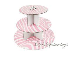 LolaSaturdays 3 Tier Cupcake Stand - Party decoration - Pink Zebra