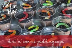 Fun, Dirt n Worms Pudding cups--great for parties and gatherings!