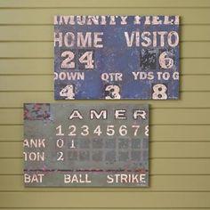 Vintage Football Scoreboard Wall Art