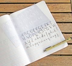 A Z Calligraphy Stencil Bullet Journal Stencil fits by Moxiedori