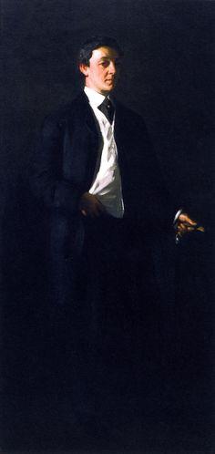 Portrait of William James Glackens ~ (American : 1870-1938) ~ Robert Henri ~ (American : 1865-1929) peintre et professeur américain qui appartint à  Ashcan School « école de la poubelle  » style de peinture américaine réaliste du début du XXe s connue pour la représentation de scènes de la vie quotidienne des milieux pauvres des villes. Représentants Principaux : Robert Henri (1865–1929), George Luks (1867–1933), William Glackens (1870–1938) John Sloan (1871–1951) Everett Shinn (1876–1953)