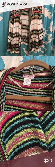 Multi Color Cardigan Super cute multi color stripe cardigan! It looks great with a black or white tank with dark jeans. It has stripes from aqua, white, black, pink, lime green. It is from wet seal and it is a size 2XL. Never worn. Wet Seal Sweaters Cardigans