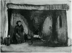 Vincent van Gogh Woman by the Fireplace Watercolor