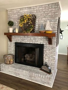 Old Brick Fireplace Remodel . Old Brick Fireplace Remodel . Painted Brick Fireplace Sw Pure White Over Dark Red Brick Home Fireplace, Brick Fireplace Decor, Diy Fireplace, Fireplace Design, Living Room With Fireplace, White Wash Brick, Brick Fireplace Makeover, Painted Brick Fireplaces, Fireplace Decor