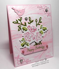 Cattail Designs: Beautiful Birthday card and Just Add Ink #395, Petal Palette