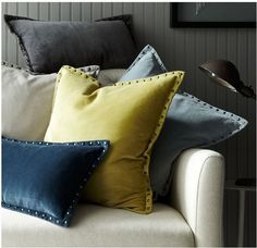 Love these 4 colors together! west elm studded pillows #throw #pillows