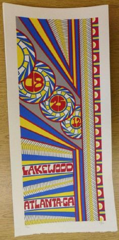 Original silkscreen concert poster for Phish on August 25th at Lakewood Amphitheatre in Atlanta, GA in 2012. It is printed on Watercolor Paper with Acrylic Inks and measures around 10 x 22 inches.  Print is signed and numbered out of only 120 by the artist Tripp.