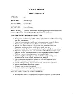 Retail Job Description Revolutionary Store Manager Sales Resume Examples Professional