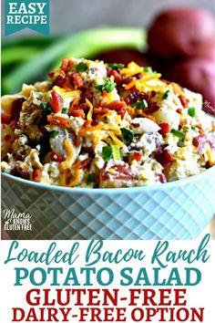 Gluten Free Potluck, Gluten Free Recipes Side Dishes, Dairy Free Recipes, Healthy Recipes, Gf Recipes, Sausage Recipes, Loaded Potato Salad, Bacon Ranch Potato Salad, Bacon Ranch Potatoes