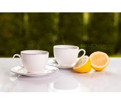 Villa Italia Bari Platin, kawa, herbata, filiżanka, porcelana, cytryna, cytryny, cytrusy, kawa w ogrodzie, na tarasie