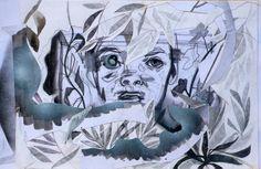 Massimiliano Fabbri / Il buco dentro agli occhi o i bordi estremi / 2013, collage, grafite, carboncino, china, penna biro, pastello a olio su carta, cm 30x45