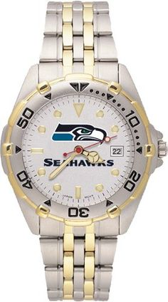 Seattle Seahawks Men's All Star Watch Stainless Steel Bracelet  https://allstarsportsfan.com/product/seattle-seahawks-mens-all-star-watch-stainless-steel-bracelet/  Officially licensed two-tone team logo watch Case is 1 5/8-Inch wide, dial diameter 1-Inch Brushed chrome finish brass case, two-tone roating top ring and screw-down back with two-tone stainless steel bracelet