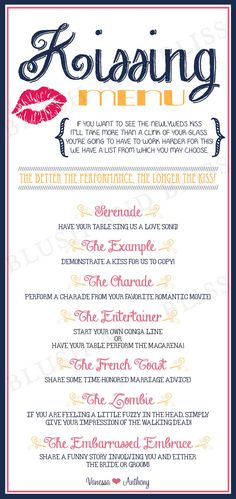 SALE  Custom Printable Wedding Kissing Menu by BlushAndBliss, $8.00