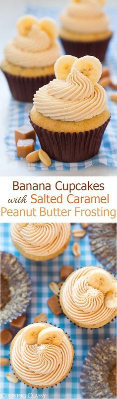 Banana Cupcakes with Salted Caramel Peanut Butter Frosting - sub GF flour. These cupcakes are dreamy! Cupcake Recipes, Baking Recipes, Cupcake Cakes, Dessert Recipes, Cup Cakes, Sweets Cake, Just Desserts, Delicious Desserts, Yummy Treats