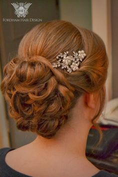 Wedding Hair styling with Diamante comb decoration by Fordham Hair Design Gloucestershire  ... Wonderful Winter Cotswold Wedding The Bay Tree Hotel Burford