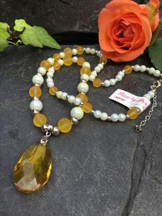 crystal drop necklace, Made by Arja Hannele Drop Necklace, Beaded Necklace, Crystal Drop, Pearls, Crystals, Jewelry, Jewels, Beaded Collar, Jewlery