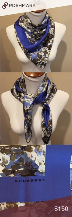 "HP❤️Burberry Silk Square Scarf NWT Special gift for a special person—This is a deal!! NWT Gorgeous Burberry Silk scarf in floral pattern with shades of cobalt, sky blue, brown (taupe and olive) and black. 100% Silk. 27"" square. Colors are even more beautiful in person. Just listed! Make an offer! Host Pick Wardrobe Obsessions Party 12/5! Burberry Accessories Scarves & Wraps"