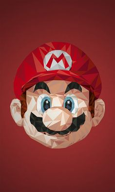 Minimalistic Mario. Geometric Video Game Characters by Simon Delart.