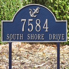 """Anchor Arch Lawn Plaque - Blue with Silver Type - Frontgate by Frontgate. $119.00. 15-3/4""""L x 9-1/4""""H, 4 lbs. 3"""" characters on first line. 1-1/4"""" characters on second line."""