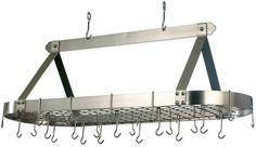 Old Dutch International Hanging 24-Hook Pot Rack in Satin Nickel