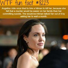 Angelina Jolie hired a hitman to kill her - WTF fun facts (WTF Facts : funny & weird facts) Funny Weird Facts, Creepy Facts, Wtf Fun Facts, Random Facts, Uber Facts, Random Stuff, Creepy Stuff, Hilarious Stuff, Fun Stuff
