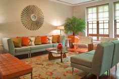 New living room decor colors orange green 43 Ideas Orange And Grey Living Room Decor, Living Room Turquoise, Retro Living Rooms, Living Room Decor Colors, Living Room Color Schemes, Living Room Green, New Living Room, Room Colors, Living Room Designs