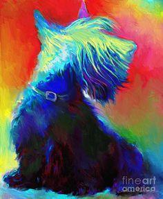 Scottish Terrier Dog painting pinned By http://Barkingstud.com