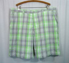 NEW Mens PGA TOUR PRO SERIES Lime/Gray/White Plaid Athletic Golf Shorts, Size 40 #PGATourProSeries #Athletic