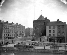 """""""Poole's store facade, Reginald's Tower and Imperial Hotel, the Quay, Waterford"""" - NLI / Poole Collection Waterford City, Imperial Hotel, Facade Design, Year Old, Old Photos, Ireland, Irish, Tower, Day"""