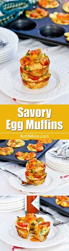 These delicious Savory Egg Muffins are great for breakfast or mid morning snack. They will keep you energized and satisfied through the morning. Brunch Recipes, Easy Dinner Recipes, Breakfast Recipes, Breakfast Ideas, Brunch Ideas, Sweets Recipes, Yummy Recipes, Keto Recipes, Baking Muffins