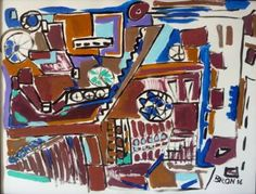 "Saatchi Art Artist Celine BRON; Painting, ""Abstraction mécanique"" #art"
