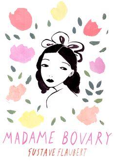 palette rose  🌺  illustration portrait floral sur le theme littéraire de madame bovary de gustave flaubert aquarelle watercolor fleurs flowers