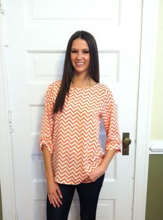 Chevron and On Blouse-Coral - Tops   The Red Dress Boutique