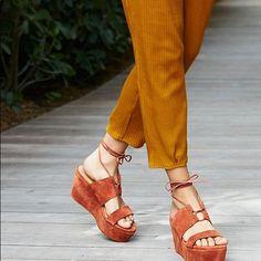 Free People Rust Orange Suede Open Wedge Sonoma 10