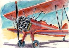 Red Stearman Biplane ink and watercolorprint by McDonelArts, $20.00