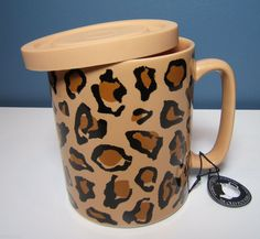 Animal Print Leopard Coffee Mug with Lid Large by Old Pottery Company Brown Tan Motif Leopard, Cheetah Print, Animal Print Fashion, Animal Prints, Printed Coffee Cups, Old Pottery, Leopard Animal, Jaguar, Diy Design