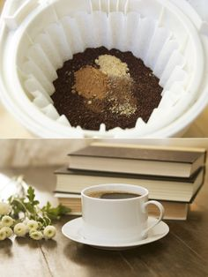 How to hack a dirty chai at home using a coffee filter, coffee grounds, and ground chai spices.